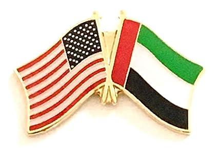 Pack of 50 United Arab Emirates & US Crossed Double Flag Lapel Pins, UAE &  American Friendship Pin Badge