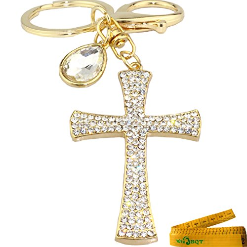 3D Cross Shape Stainless Alley Metal Bling Crystal Rhinestone Key Chain Ring Keychain Cell Phone Car Charm Decoration Pendant Ornament