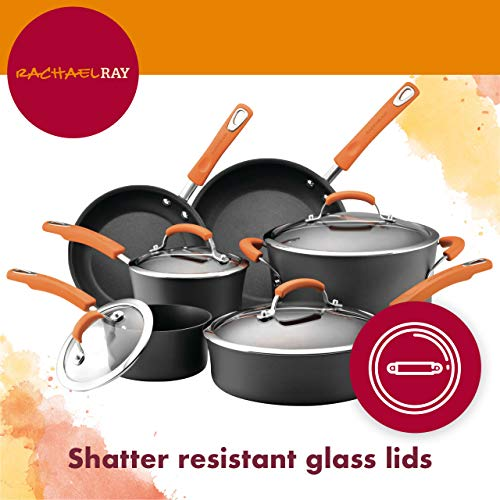 Rachael Ray 82710 Brights Hard-Anodized Nonstick Cookware Set with Glass Lids, 10-Piece Pot and Pan Set, Gray with Red Handles