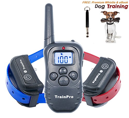 TrainPro PRO998 Electronic Dog Training 330-Yard Rechargeable Waterproof e-Collar System for Two Dogs with eBook and Whistle, 3.0 Version, Black (Halloween Safety Tips From Police)