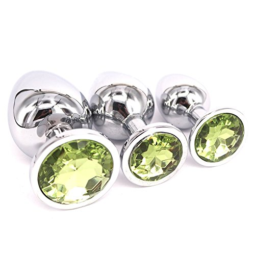 DuHui Beginners Anal Plug Metal Plated Erotic Sexy Toys 3PCS for Valentine Lover(light green) by DuHui