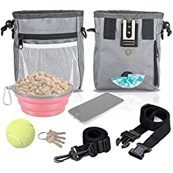 Dog Treat Pouch - Pet Snacks, Toys Training Tools Carrier Built-in Poop Bag Dispenser - Stylish, Multi-wear, Multipurpose - Weather-Resistant Nylon Fabric Material