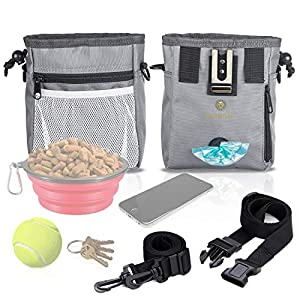 Dog Treat Pouch - Pet Snacks, Toys Training Tools Carrier Built-in Poop Bag Dispenser - Stylish, Multi-wear, Multipurpose - Weather-Resistant Nylon Fabric Material 64