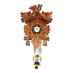 Battery Operated Carved Clock with Swinging Boy