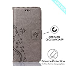 Galaxy Core LTE G386W Case, LIKESEA Butterfly Floral Series Leather Wallet Case Flip Cover with Card Slot and Magnetic Closure for Samsung Galaxy Core LTE G386W - Gray