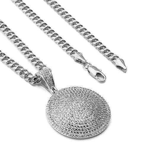 Raonhazae Lab diamond Micro Pave Medallion Round Pendant w/Miami Cuban Chain BR010 (Silver)