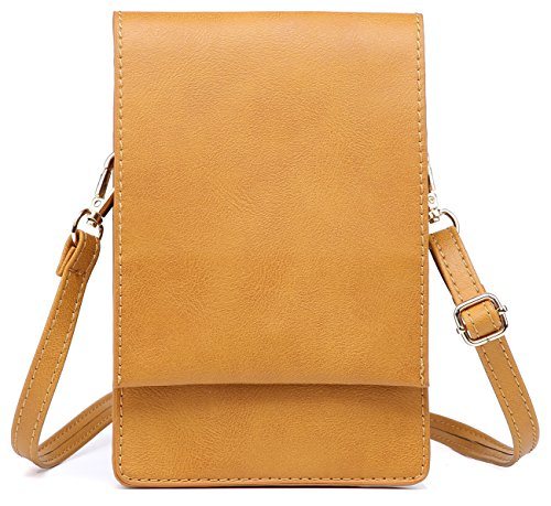 - SHOMICO Women Small Crossbody Purse Cell Phone Pouch Shoulder Bag For 6 Inches (Camel)
