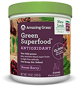 Amazing Grass Green Superfood Antioxidant Powder, Sweet Berry, 30 Servings, 7.4oz, Probiotic, digestive enzymes, vegan, detox, Gluten Free, vitamin C, Spirulina, Chlorella, greens, vitamins