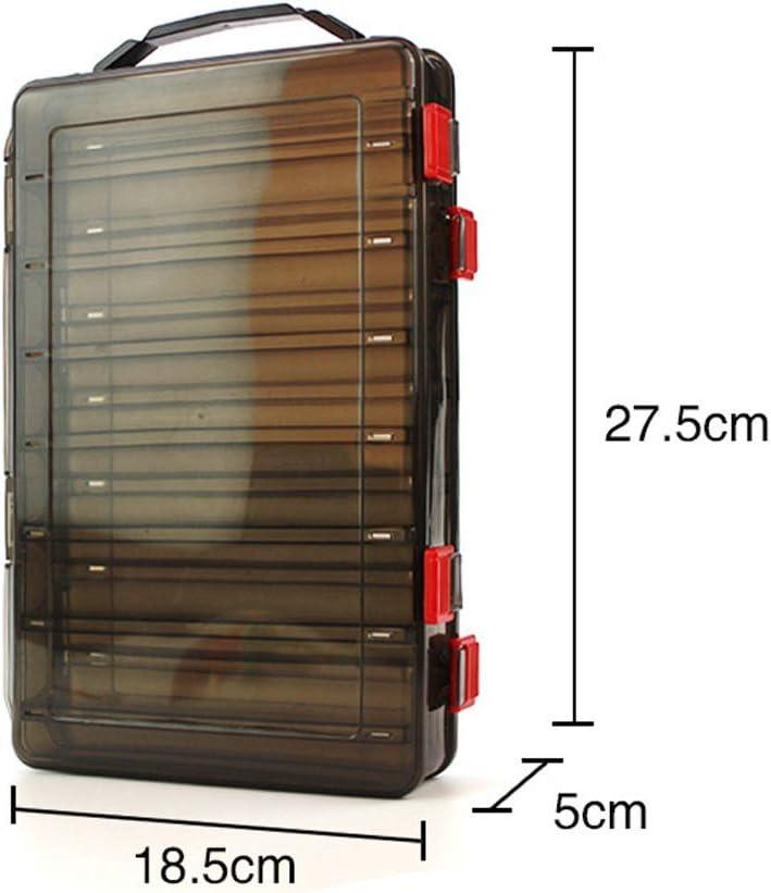 sylbx Boite leurres Transparent Imperm/éable Bo/îte /à Outils P/êche 14 Compartiments Bo/îte Rangement Plastique Boite appats Double Faces avec Drain pour Accessoires P/êche