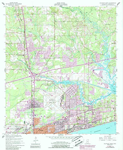 YellowMaps Gulfport North MS topo map, 1:24000 Scale, 7.5 X 7.5 Minute, Historical, 1954, Updated 1985, 26.9 x 22 in - Polypropylene (Mississippi West Gulfport)