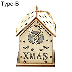 gainvictorlf LED Light Wood House Cute Christmas Tree Hanging Ornaments Holiday Decoration - Type B