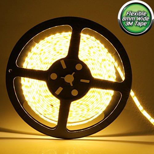 LEDMO® 2835 LED Strip, Warm White 3000K 600LEDs 16.4Ft DC12V 15Lm/LED CRI80, Waterproof IP65 for wet location, 3 times brightness than SMD3528 LED Light Strip, LED Strip Light