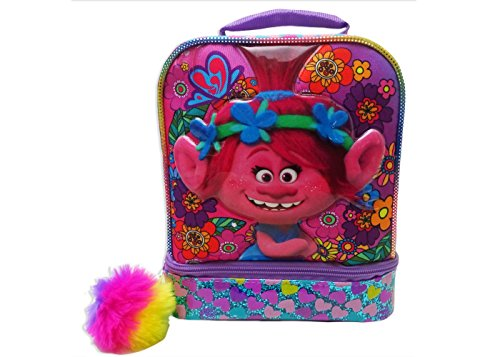 Lunch Boxes 80s (Trolls Dual Compartment Lunch Bag with Pom Pom - Multicolor)