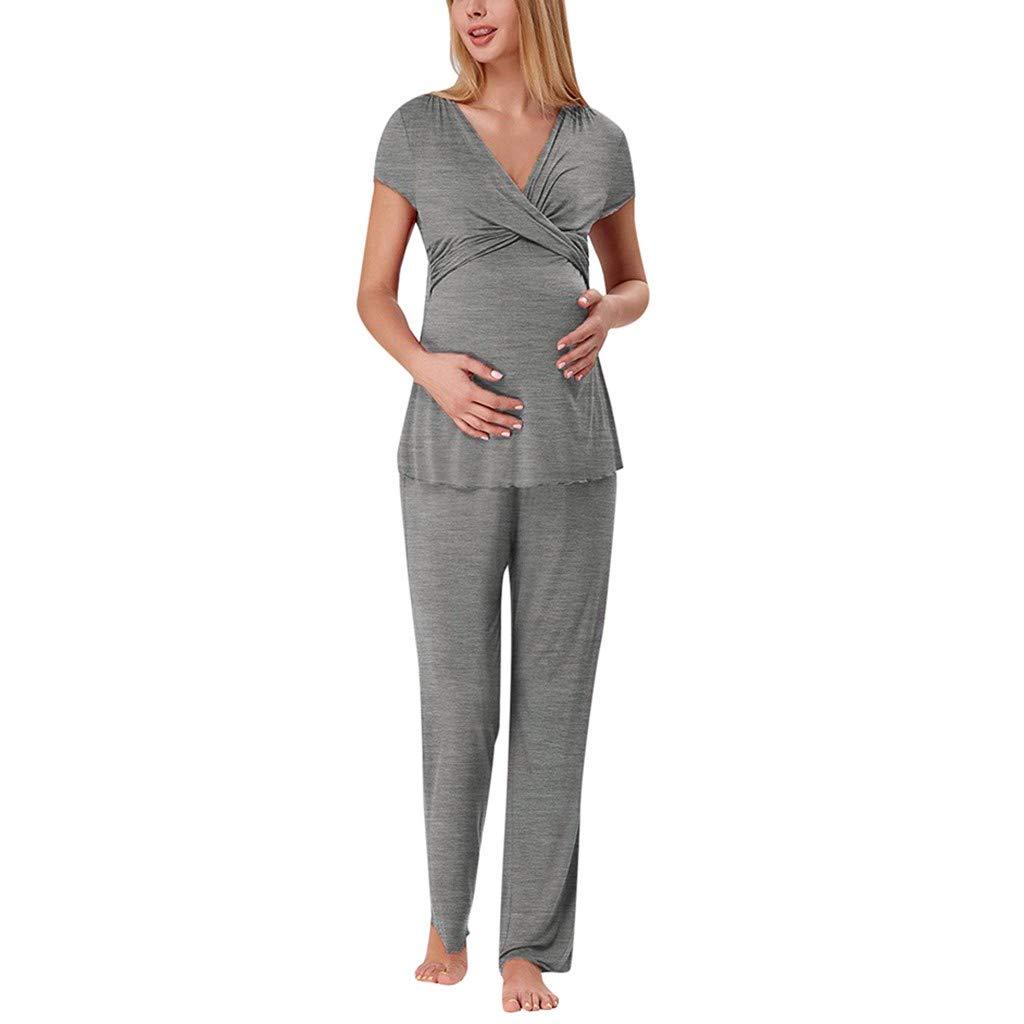 2Pcs Femmes Maternit/é Sans Manches Allaitement B/éB/é Gilet Tops Stripe Shorts Pyjama Ensemble,Yesmile V/êTements Grossesse Et Maternit/é XXL, vin