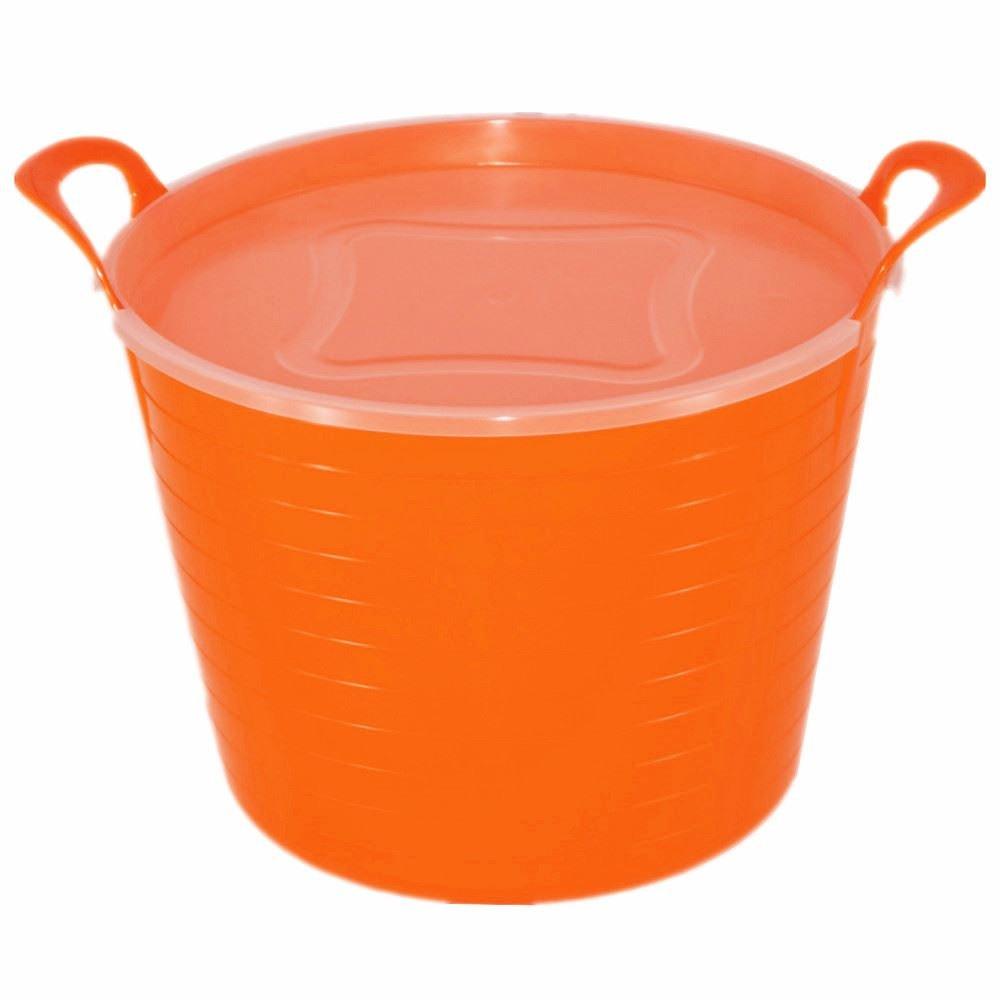 42L ORANGE FLEXI TUB WITH LID, TRUG, FEEDING BUCKET, WATER BUCKET, GARDEN, FLEXIBLE KETO PLASTICS