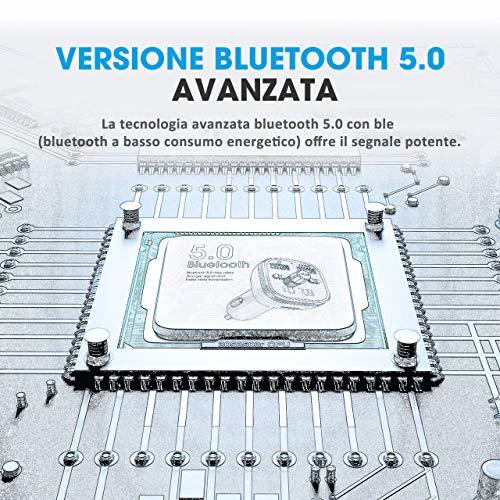 VicTsing Trasmettitore FM Bluetooth 5.0 per Auto, 2 Porti USB QC3.0&5V/1A, 6 LED Controluce, Chiamata in Vivavoce, U Disk/TF Card