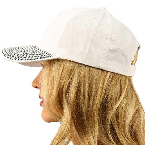Everyday Plain Blank Bling Rhinestones Visor Baseball Sun Ball Cap Hat White