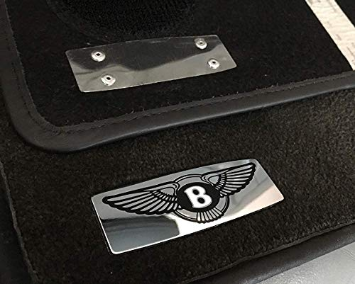 kit-car Bentley Style Floor Mats Metal Emblem Badge Logo for Bentley Bentayga Continental GT Flying Spur Mulsanne and Other Models - Set of 2 pcs