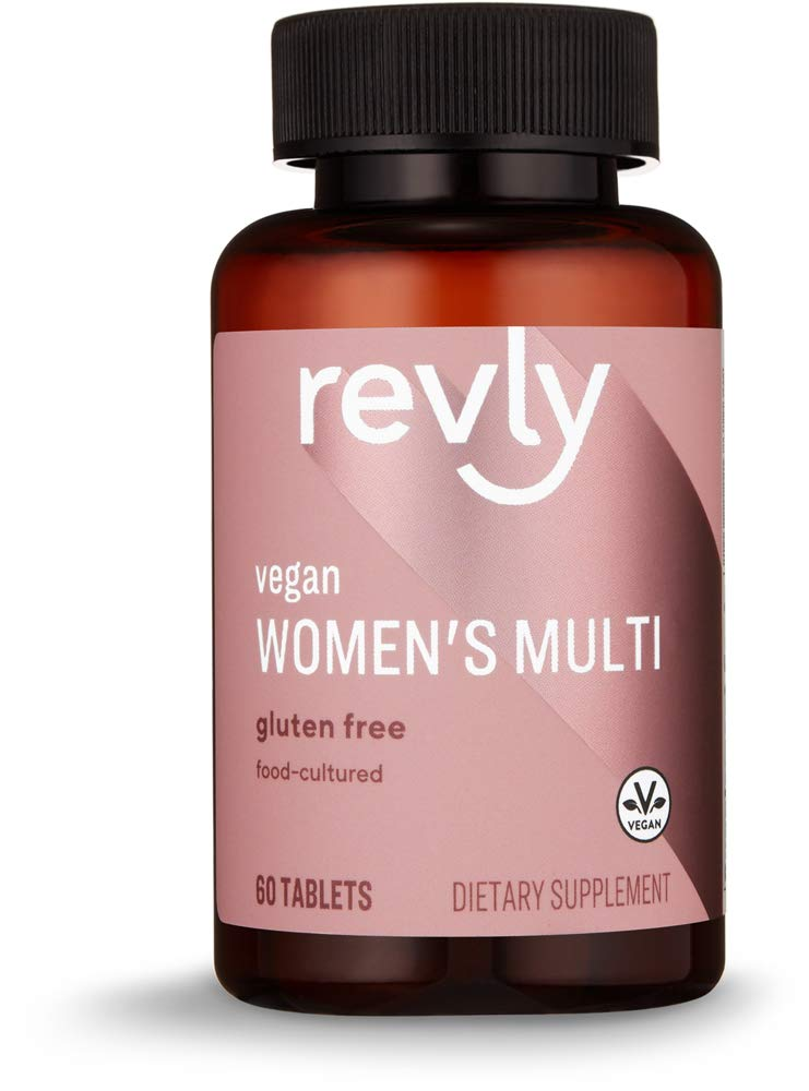 Amazon Brand - Revly Women's Multi, Vegan, 53% Food-Cultured, 60 Tablets, 2 Month Supply