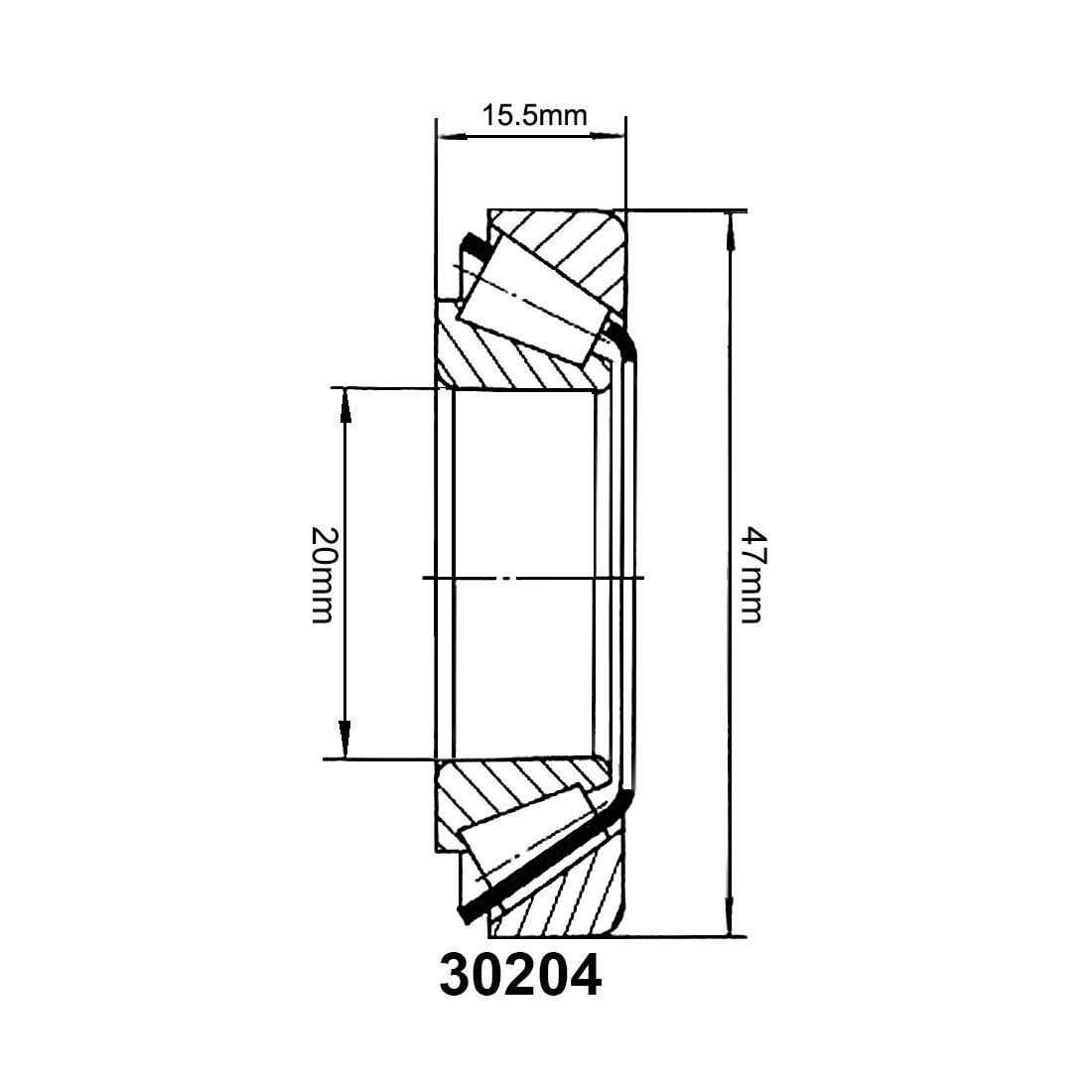 N/úcleo de 15mm Di/ámetro 35mm 11mm Grosor sourcing map 30202 de Rodamiento de Rodillos C/ónicos Cono Y Taza