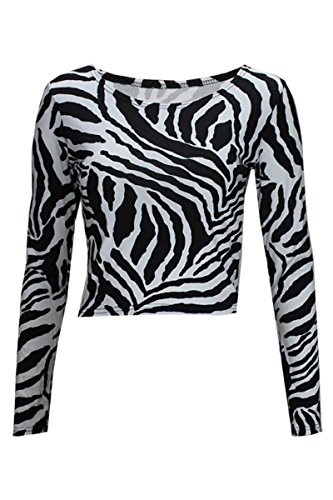 Thever Women Ladies Long Sleeve Animal Zebra Monochrome Black & White Print Scoop Neck Crop Top Sz 8-14 (UK (8-10) US (6-8), Black) (Zebra Print Tops)