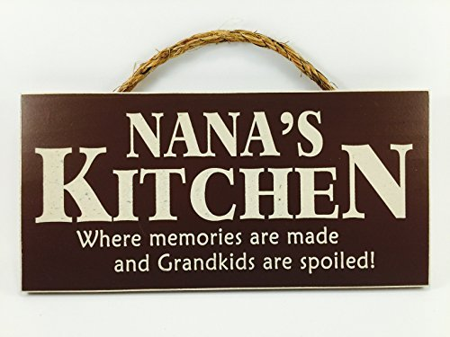 Home Decor Wood Signs with Quotes Inspirational & Sometimes Funny Sayings Rustic Wood Signs- Hanging Signs (Nana's Kitchen, 53-115-RD) ()