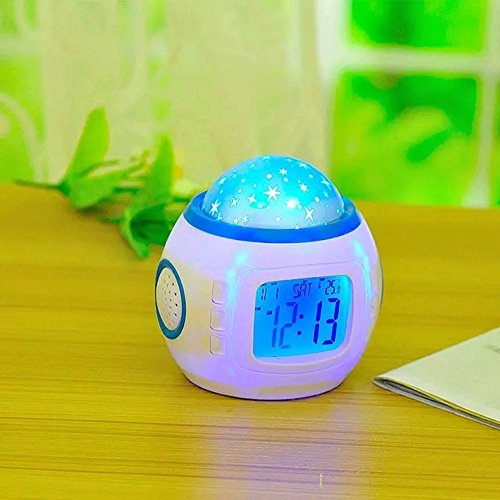 Welltop® LED Music Starry Star Sky Projection Alarm Clock Calendar Thermometer Night Light, Romantic Symphony Star Figure. Children Room Lamp Bedroom Alarm music kids good sleeping toys, A Great Gift For Family, Lover And Friends