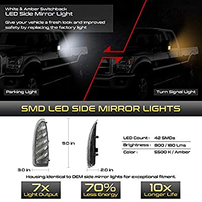 VIPMOTOZ Switchback Full White & Amber LED Side Marker Light Lamp Assembly Replacement Pair For 2003-2007 Ford F-250 F-350 Super Duty Pickup Truck Towing Mirror: Automotive