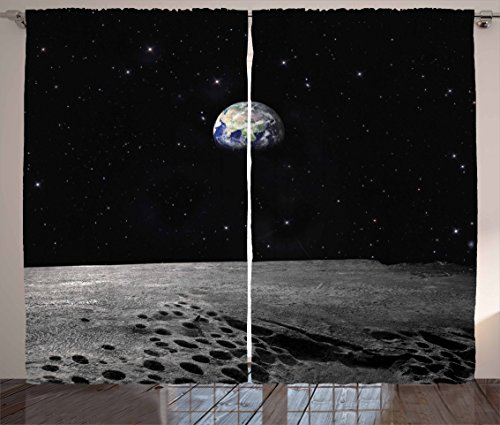 Ambesonne Earth Curtains, Planet Earth As Seen From The Moon Outer Space Milky Way Quiet Night Sky Galaxy, Living Room Bedroom Window Drapes 2 Panel Set, 108 W X 90 L Inches, Black Grey Blue Review