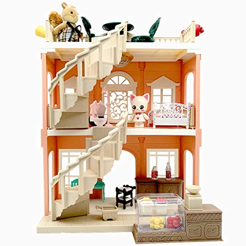 FULIM Forest-Family Dream Houses DIY Doll House Toy Playset with Furniture Accessories and Dollhouse Figures, Easy to Assemble, Double Stair