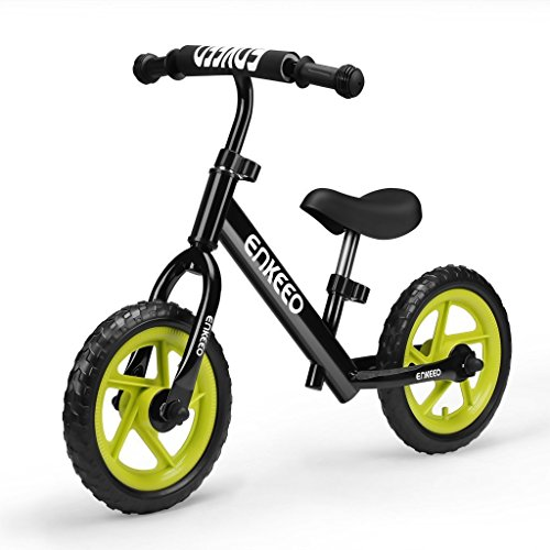 Enkeeo 12″ No Pedal Balance Bike for 2-6Years Old Kids, Carbon Steel Frame, Adjustable Handlebar and Seat, 50kg Capacity, Black Balance Training Bike