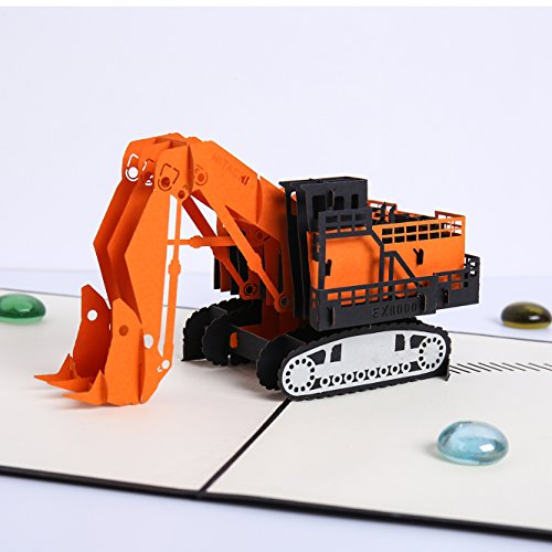 Liif Orange Excavator Pop Up Card, 3D Greeting Pop Up Card For All Occassion, Birthday, Father's Day, Graduation, Congratulations, Get Well, New Business, Kids, Handmade Gift
