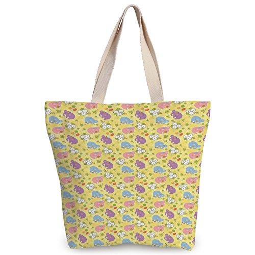 iPrint Cool Canvas Tote Bag,Elephant,Blossoming Cartoon Flowers and Animal Mascots Balloons Bow Ties Playful Clip Art,Multicolor,Canvas Shopping bag,shoulder handbags,Shoulder Bag