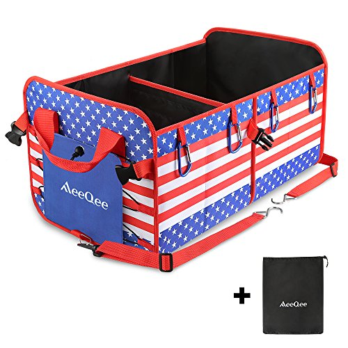 MeeQee Car Trunk Organizer by, Heavy Duty Collapsible Cargo Storage for SUV, Non-slip Bottom Strip and Straps Durable Cargo Container, Bonus Storage Bag