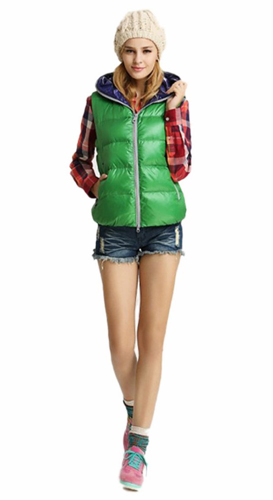 Queenshiny New Style Women's Short Down Vest with Hoodie-Green-XS(0-2)
