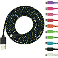 Costyle 10pcs/lot Colorful Ruggedized Braided Fabric/Sleeved 6 Feet FT 2M Meters Micro USB 2.0 EXTRA LONG Extended Data Sync Charging Cable Cord For Samsung Galaxy Note 2, Galexy S4, Galaxy S3, Galaxy S2, Galaxy Nexus, HTC One X, One S, Sensation G14, ThunderBolt, Nokia N9 Lumia 920 900, Blackberry Z10, Sony Xperia Z; and More -Black White Pink Hot Pink Purple Blue Yellow Green Red Orange