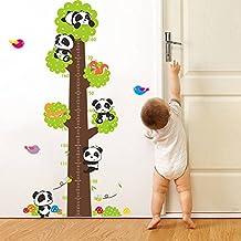 BIBITIME 5 Pandas 2 Squirrels Green Tree Growth Chart Wall Decal Mushroom Birds Vinyl Sticker Nursery Height Chart for Kids Room Decor Art Mural DIY