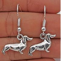 phitak shop 925 Silver Plated Hook -1.4 Retro Dog Dachshund Women Earrings Jewelry #17
