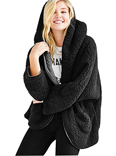 Qiuse Women's Lovely Double-Side Faux Lamb Fur Reversible Batwing Fleece Hooded Coat (Medium, Black)