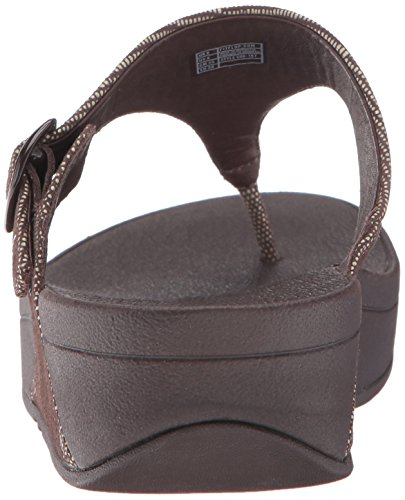 Fitflop The Skinny Lizard Print Toe-Post Sandals - Chocolate Brown