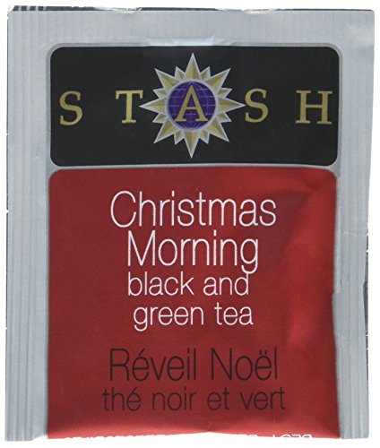 Stash Tea Christmas Morning Black & Green Tea 100 Count Tea Bags in Foil (Packaging May Vary) Individual Tea Bags for Use in Teapots Mugs or Cups, Black Tea and Green Tea, Brew Hot or Iced -