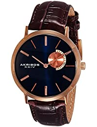 Akribos XXIV Men's AK848RGBU Blue Dial Rose Gold and Brown Leather Strap Watch