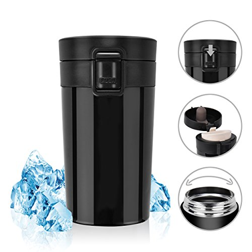 Stainless Steel Insulated Travel Coffee Mug, Rainbrace Double Wall Insulated Coffee Mug Travel Mug Cup Water Bottle Wide Mouth With One Hand Flip Lid 300 ml/10 oz Keep Hot or Cold for Hours(Black)