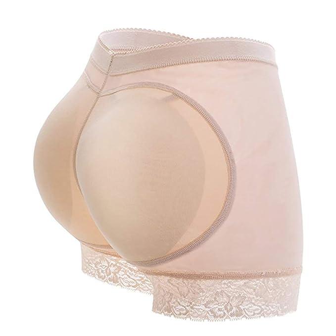 Butt para mujer Lifter sin fisuras con relleno de encaje bragas ropa interior Enhancer(Albaricoque