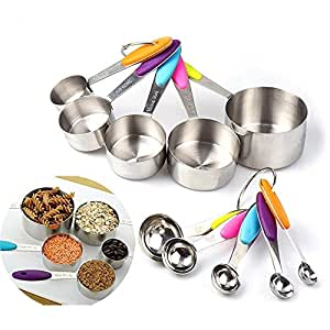 DECORA Stainless Steel Measuring Cups and Spoons 10 Piece Stackable Set - Measuring Set for Cooking and Baking with Silicone Handle Insert for Grip