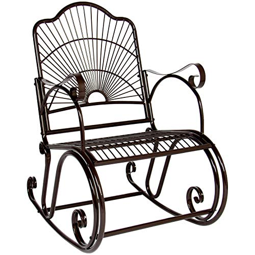 AK Energy Brown Outdoor Patio Deck Scroll Porch Steel Armrest Rocking Chair Heavy Duty Antique ()