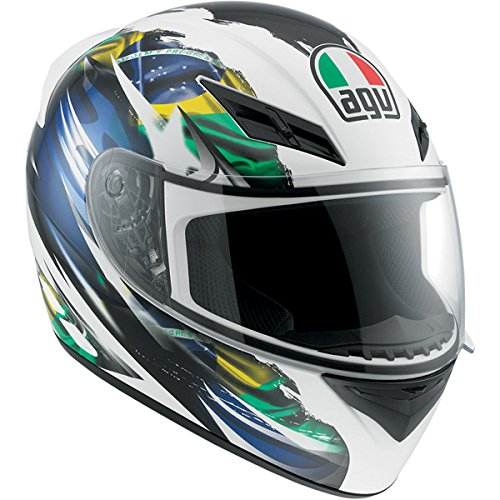 AGV K3 Flag Brazil Full Face Motorcycle Helmet (Multicolor, Large)