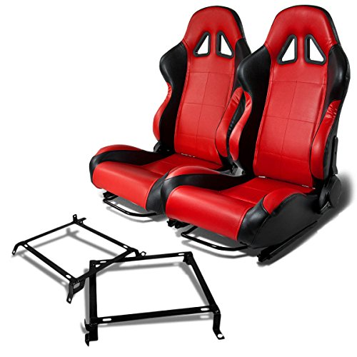 Pair of RST5BKRD Racing Seats+Mounting Bracket for Honda Civic/Acura Integra Sedan & Coupe
