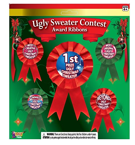 Forum Novelties Ugly Christmas Sweater Award Ribbons, Multicolor (Ugly Sweaters Christmas)