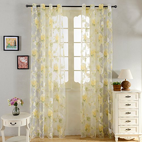 Top Finel Rose Flower Window Treatments Sheers Curtains Panels 54 X 96 inch Length Set of 2,Grommets Top Flower Panels Set
